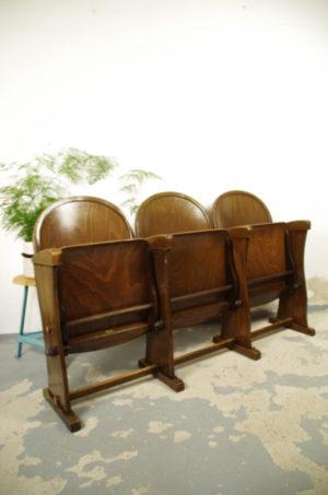 Vintage antiek houten bioscoopstoel Theaterstoel