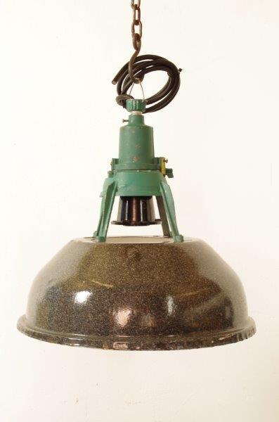 Industriële stalen hanglamp zwartgrijs met groenblauw