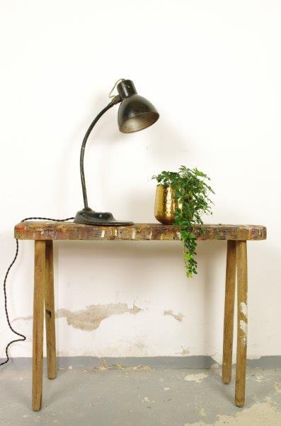 Industriële oude stalen tafellamp zwart groen