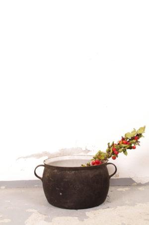 Grote oude gietijzeren pot
