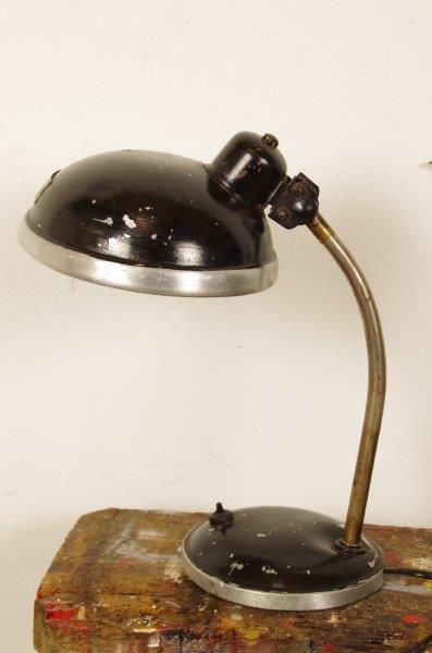 Vintage zwart lampje met zilver