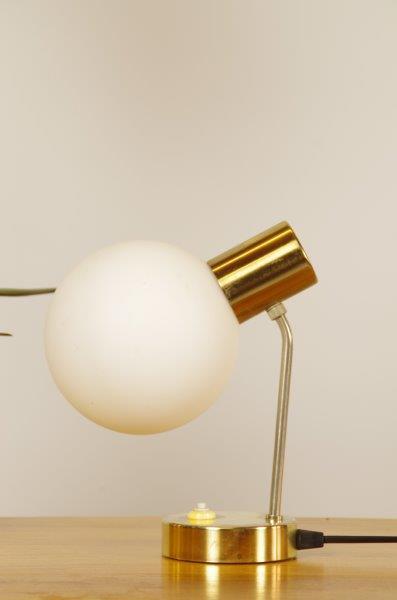 Vintage tafellamp met goud en glas