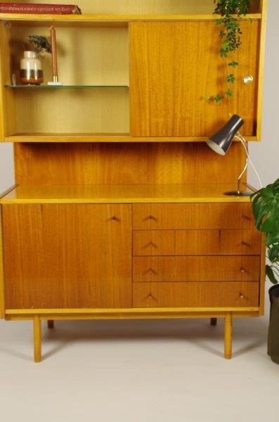 Vintage fineer kast met lades, wandkast