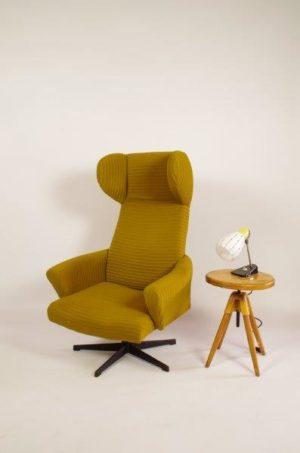Vintage groene draai fauteuil