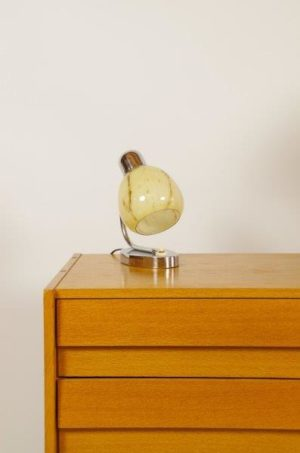 Vintage tafellampje chroom met glazen kap