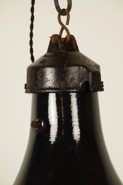 Unieke industriële zwarte hanglamp met platte kap