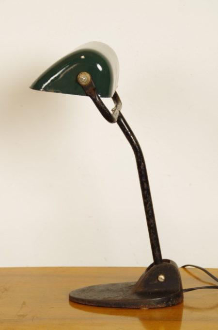 Oude bankierslamp met blauwgroene kap