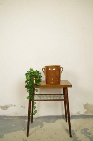 Oude aardewerk pot bruin met oren | Bloempot