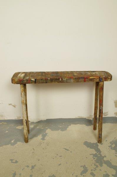 Oud houten schilders bankje
