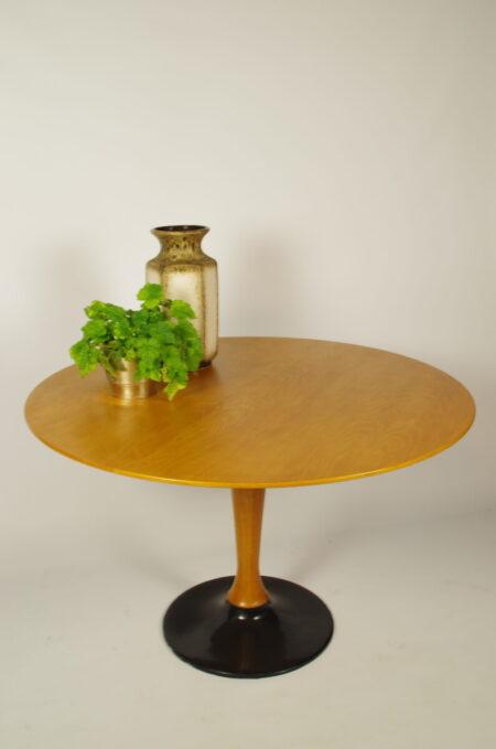 Vintage ronde eettafel, fineer tafel
