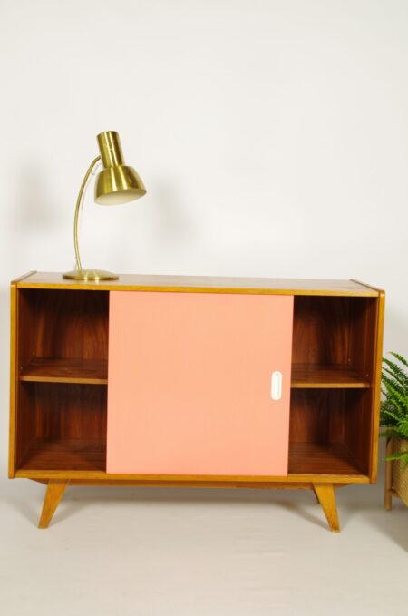 Vintage design fineer kast Jiri Jiroutek roze wit, sideboard, lowboard.