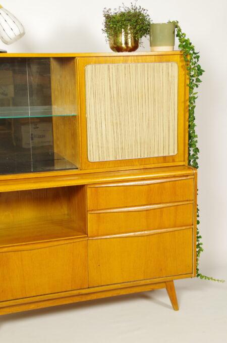 Vintage design highboard Jitona, fineer vitrinekast
