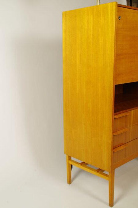 Vintage fineer bureau, secretaire, vintage kast
