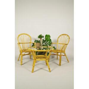Vintage rotan stoelen en rotan tafel met glas