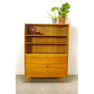 Vintage fineer vitrinekast, boekenkast, highboard