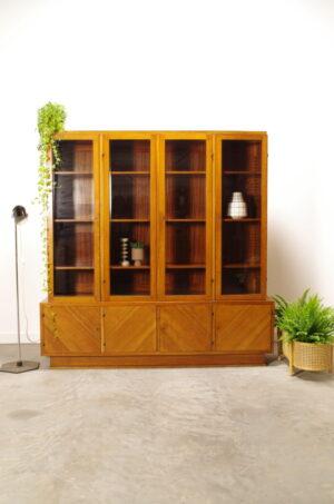 Vintage fineer vitrinekast | Boekenkast, antiek