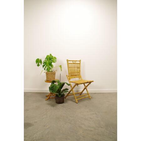 Vintage bamboe klapstoel, tuin stoel, verticaal