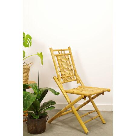 Vintage bamboe klapstoel, tuin stoel, horizontaal