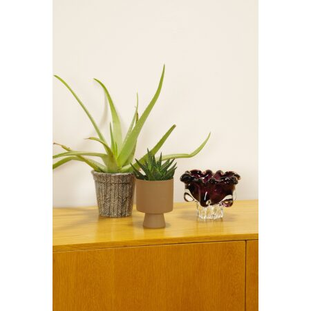 Vintage design glas, Jozef Hospodka, Chribska, schaal bloem roze paars wit glas