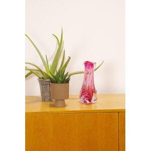 Vintage design glas, Jozef Hospodka, Chribska, vaas roze hoog,1