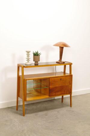 Vintage fineer kastje met glas, tv meubel, klepkastje