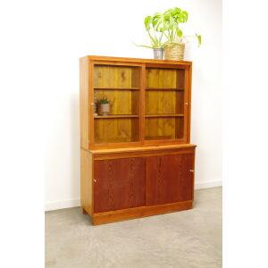 Vintage oude houten vitrinekast, Buffetkast