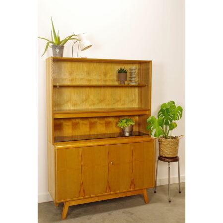 Vintage design fineer vitrinekast Jitona blank, highboard, wandkast