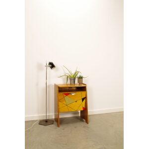 Vintage fineer kastje met driehoeken, klepkast, tv meubel