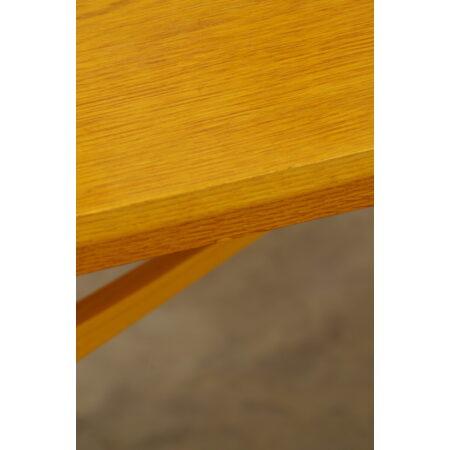 Vintage fineer salontafel kruis onderstel, koffietafel, bijzettafel