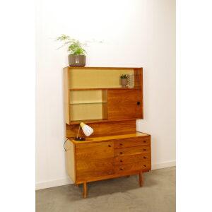 Vintage fineer wandkast met lades, highboard, vitrinekast