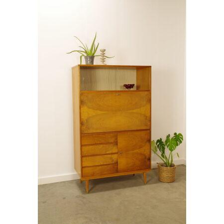 Vintage design fineer secretaire Mezulanek, wandkast, bureau met lades