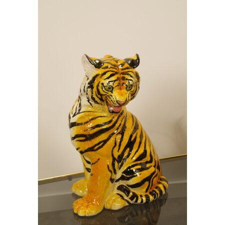 Vintage porseleinen beeld tijger made in Italy, Midcentury, Hollywood Regency keramieken tijger