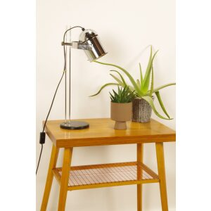 Vintage chromen tafellamp met verstelbare spot, bureaulamp