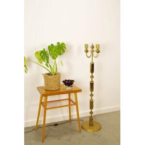 Vintage design messing staande lamp, gouden vloerlamp Kamenicky Senov