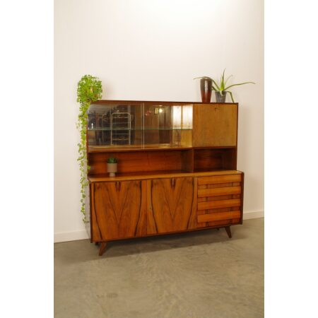 Vintage fineer design kast, Jiri Jiroutek U-460, Highboard, wandkast, vitrinekast