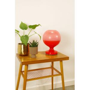 Vintage glazen bol lamp oranje rood strepen, tafellamp Stepan Tabera