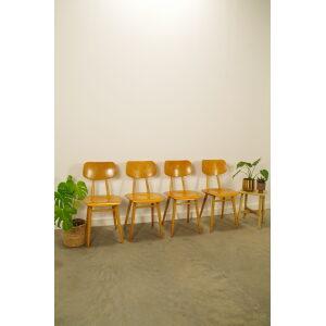 Vintage houten design stoelen Ton, jaren 60 eetkamerstoelen