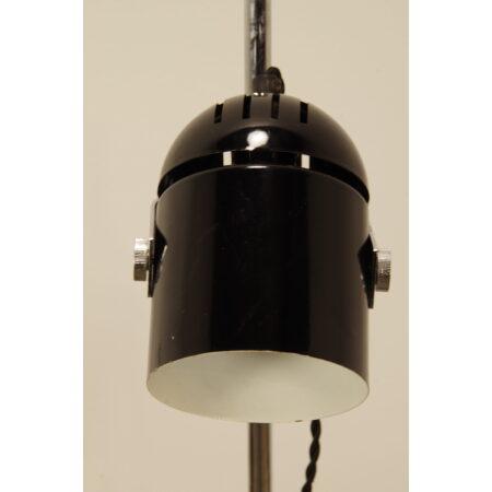 Vintage staande lamp met zwarte spot, verstelbare kap