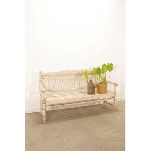 Oude houten bank wit, tuinbank hout, brocante bank