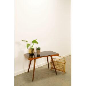 Vintage fineer design salontafel met zwart opaline glas Jiri Jiroutek, bijzettafel, koffiettafel