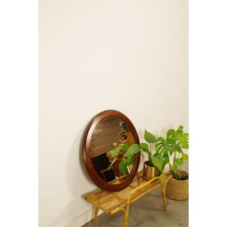 Vintage ronde houten spiegel