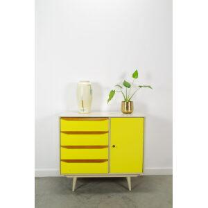 Vintage houten ladekast fris geel, sideboard,vintage kastje, commode