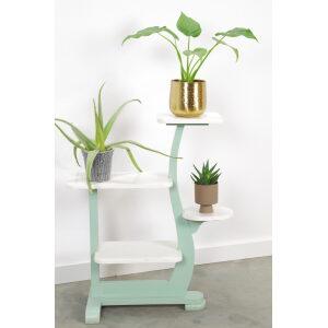 Vintage houten plantenrek mintgroen wit, plantentafel