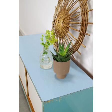 Vintage houten schoenenkast, opbergkast blauw, schoenenrek