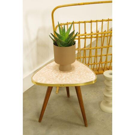Vintage kleine bijzettafel met wit roze bovenblad, plantentafel