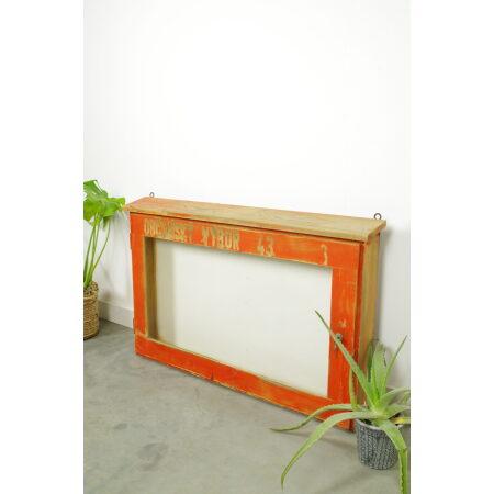 Vintage oude houten glazen vitrinekast, toonkast, houten hangkast