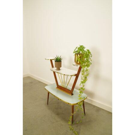Vintage plantenrek met formica, hout en messing, ronde plantenhouders