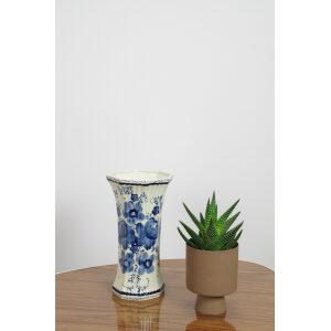 Vintage porseleinen vaas met bloemen Delfts blauw