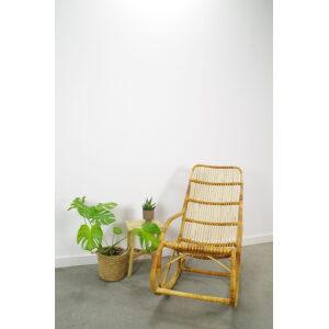 Vintage rotan schommelstoel, rotan stoel