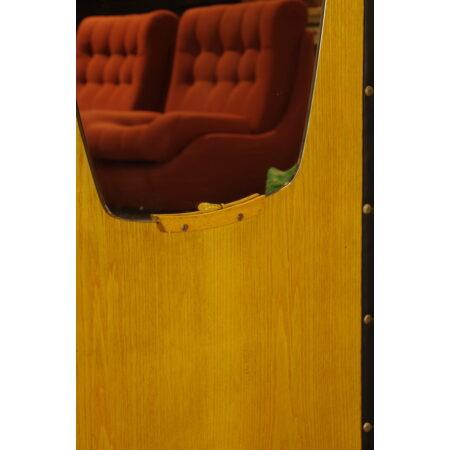 Vintage fineer grote wand kapstok met spiegel